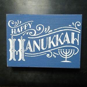 Happy Hanukkah Wooden Sign